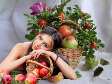 яблоко, фрукты, девушка