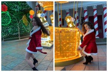 """Одесситка в откровенной одежде устроила грязные танцы возле  елки на Думской, видео: """"Я хочу..."""""""