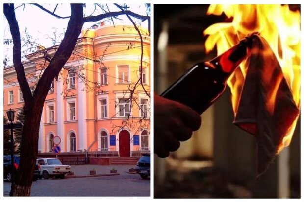 НП біля будівлі СБУ в Одесі: у хід пішли коктейлі Молотова: відео