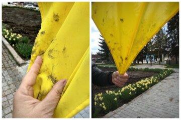 Українець витер брудні руки об державний прапор, фото: світить в'язниця