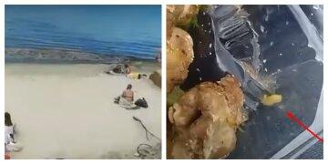 """На пляже в Одессе мужчину угостили мясом с """"сюрпризом"""", видео: """"Бонусом достался"""""""