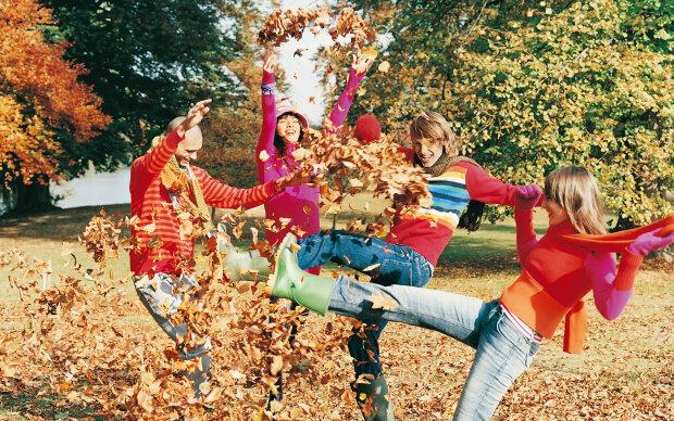 осень, женщина, счастье, мужчина, друзья