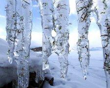 снег, сосульки, зима