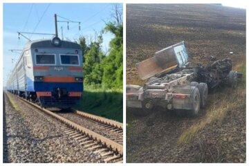 Потяг зніс фуру на Одеській залізниці: трагічні кадри