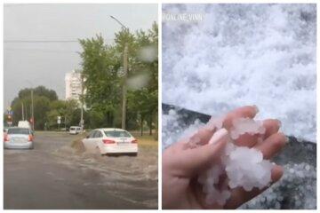 """Стихія перетворила вулиці на річки, авто """"попливли"""" дорогами: кадри наслідків негоди в Україні"""