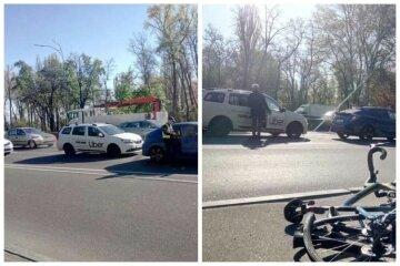 """В Киеве такси снесло велосипедиста, выехав на тротуар: """"Решил не стоять в пробках"""""""