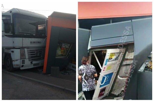 В Одессе грузовик без водителя раздавил магазин: кадры разрушительного ДТП
