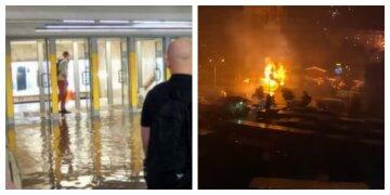 Затопленное метро, масштабный пожар и не только: стихия наделала бед в Киеве, видео