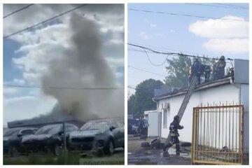 Пожежа охопила автосалон в Одесі, все в чорному диму: відео з місця НП