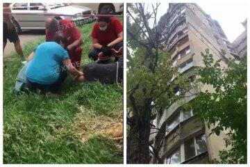 В Одесі молодий робітник зірвався з висоти 8-го поверху, кадри НП: медики рятують йому життя