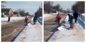 """Перед приездом чиновника решили """"залатать ямы"""" снегом: коммунальщики удивили харьковчан, кадры"""