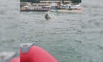 У берегов Одессы затонула яхта, капитана достали из воды: кадры ЧП