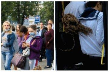 В Одесі з набитих маршруток вивалюються люди: кадри транспортного свавілля