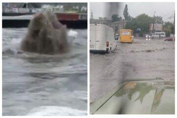 Появились кадры погодного коллапса в Одессе: улицы перекрыты, забили фонтаны грязи