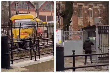 """В Одесі трамвай потрапив у ДТП, відео: """"зійшов з рейок і протаранив паркан"""""""