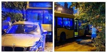 """Почав сам котитися: автобус """"без гальм"""" влетів у BMW, кадри з місця аварії"""