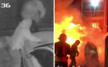 Машины киевлян атакуют  в собственных дворах: кадры поджога попали в сеть
