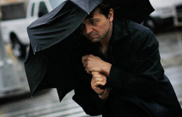 Зонт, ливень, дождь, ветер