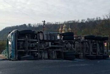 Фура с тоннами мяса  перевернулась на трассе Киев-Одесса: кадры масштабной аварии