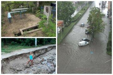 Ями в людський зріст і розмите кладовище: зливи наробили біди в Україні, відео катастрофи