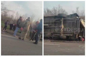 Автобус перекинувся на одеській трасі: перші кадри НП і що відомо