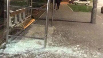 Пьяный въехал в остановку в Киеве и скрылся с места происшествия: кадры с места