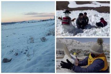 """Найсухішу пустелю світу накрило снігом: """"Мені 30 і я вперше ліплю сніговика"""""""
