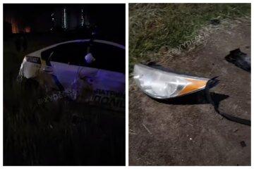 В Одессе машина полиции влетела в иномарку, запчасти разлетелись по дороге: видео с места аварии