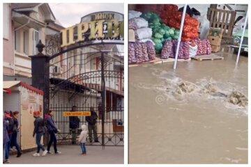 """В Одессе на Привозе забил фонтан из грязи, видео: """"рядом торгуют овощами"""""""
