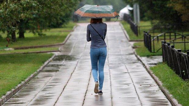 погода, дождь, зонт, девушка