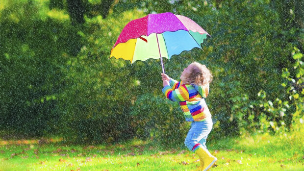 дождь, ребенок