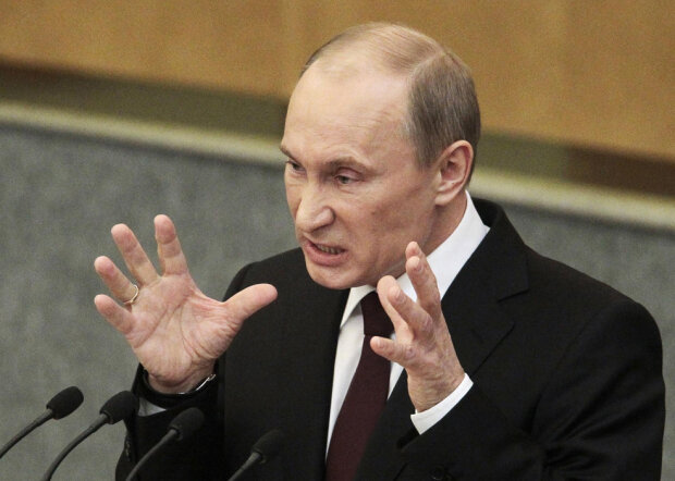 Russia's Prime Minister Vladimir Putin addresses the parliament at Russian State Duma in Mosco