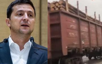 """""""Президент цього не бачить?"""": вагони під зав'язку забиті """"кругляком"""" продовжують вивозити з України, кадри"""