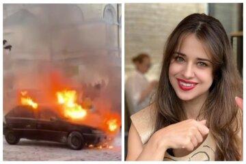 Экс-жена Дзидзьо Slavia оказалась в эпицентре жуткого ЧП в Киеве, огонь охватил автомобиль: кадры