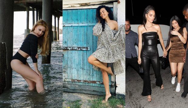 В пір'ї, міні і без білизни: Каменських, Кароль, Дженнер і інші зірки, що вразили фігурою в чорних сукнях