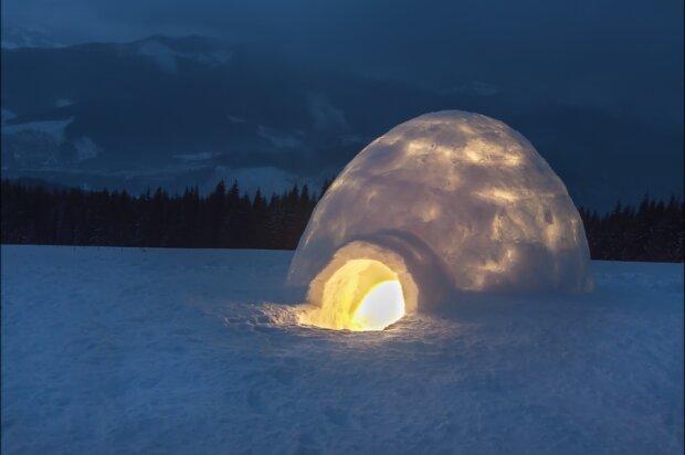 иглу, снег, зима, эскимос