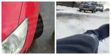 """""""Руки уберите!"""": под Киевом недовольного парковкой пешехода специально сбил водитель, видео"""
