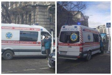 """Скорые попали в аварию в Одессе, видео: """"одна везла женщину с младенцем"""""""