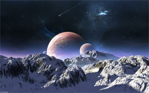 Terraspace-гранд-большие-горы-снег-небо-планеты-звезды-комет-Украшения-Дома-Холст-Плакат