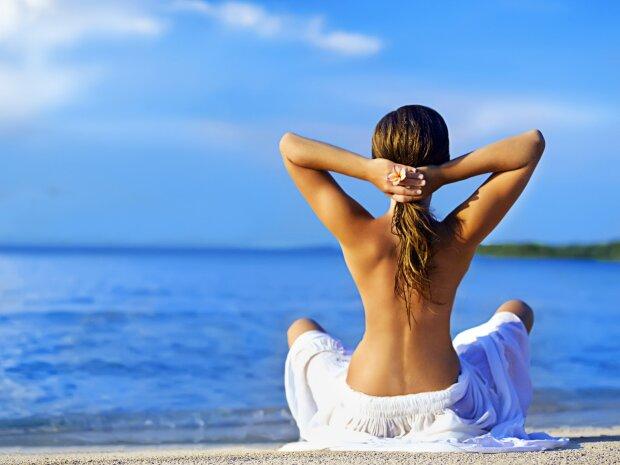 спина, осанка, море, пляж, отдых