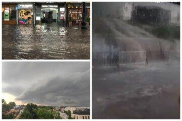 Вода зносила людей з ніг і затопила будинки: проливні дощі накрили Україну, кадри потопу