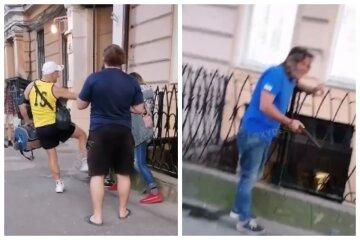 Душив батогом прямо на вулиці: одесити відбили дівчинку у горе-батька, відео