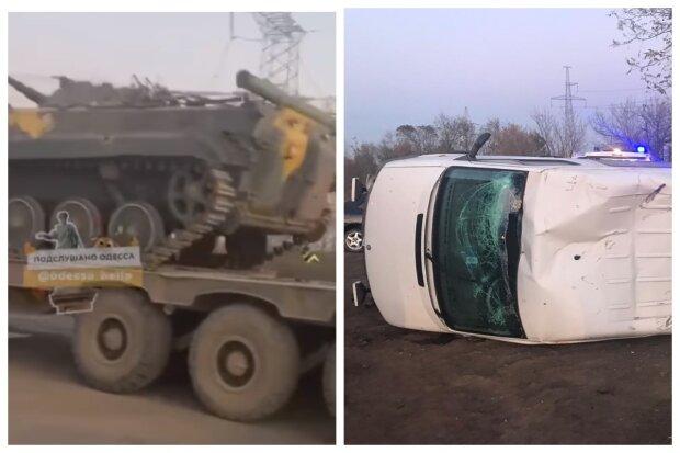 """Микроавтобус набитый людьми перевернулся на трассе под Одессой, видео ДТП: """"не разминулся с военной техникой"""""""