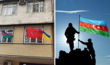 """Азербайджанцы вывешивают на балконах флаги Украины, фото: """"Желаем, чтобы вам не пришлось ждать 30 лет..."""""""