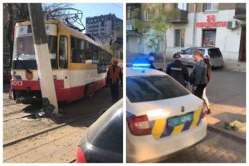 В Одесі трамвай зійшов з колій і загальмував у стовп: очевидці зняли все на відео