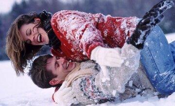любовь пара зима снег