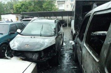 Вогонь охопив дев'ять автомобілів, машини згоріли дотла: камери засікли палія