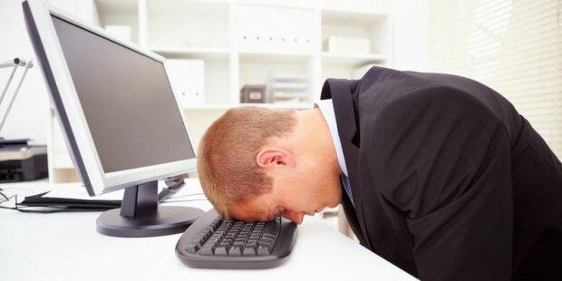человек, офис, усталость