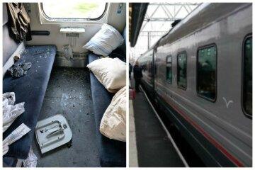 """Пассажир поезда Киев-Трускавец разгромил вагон, кадры: """"Впечатление, что это Халк ездил"""""""