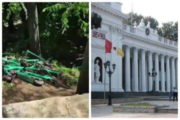 """Свалку элетротранспорта нашли возле мэрии в Одессе, видео: """"Это какой-то челлендж по уничтожению?"""""""